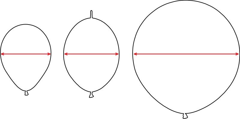 Диаметр круглых шаров из латекса
