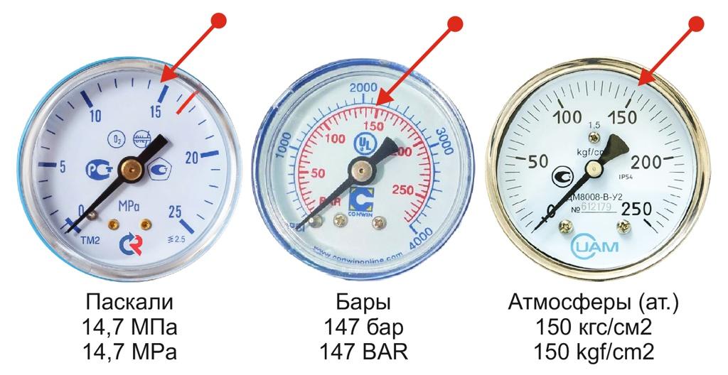 Манометры с разными шкалами (стрелкой отмечено 150 ат. - полный баллон)